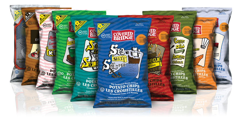 Kartoffelchips aus Kanada - Covered Bridge Potato Chips - 10 verschiedene Sorten